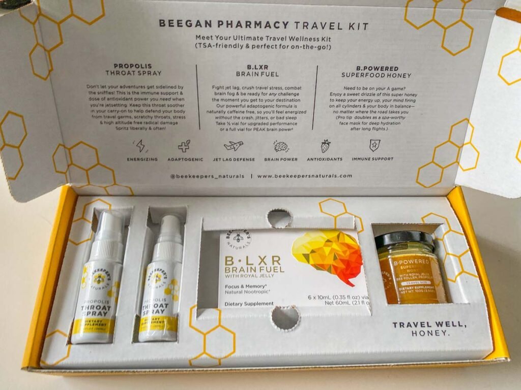 beekeepers naturals beegan pharmacy travel kit box contents