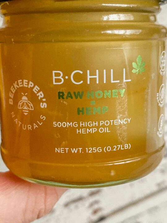 beekeepers naturals b-chill raw honey hemp jar