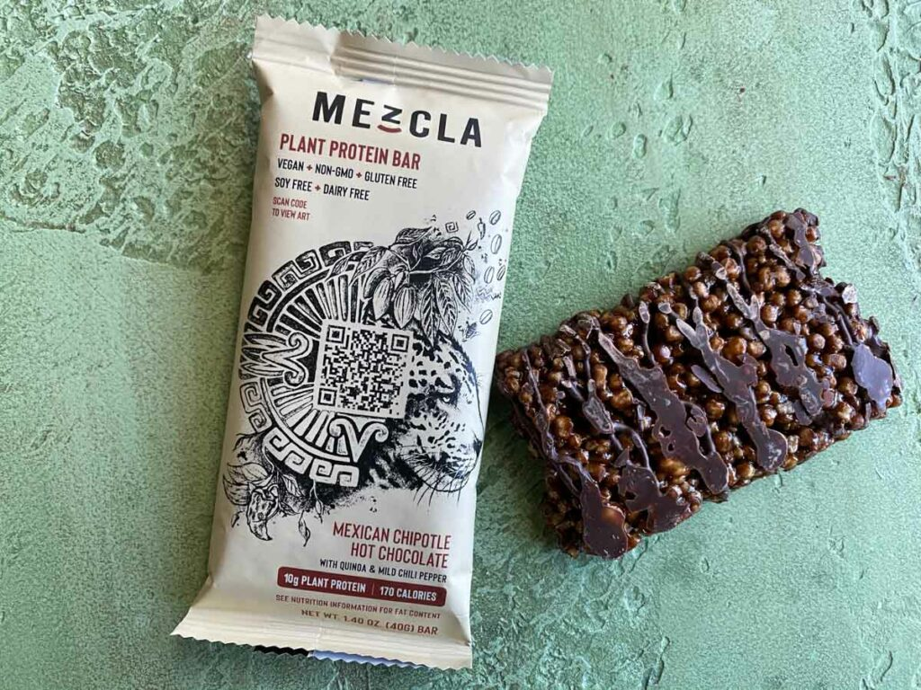Mexican Chipotle Hot Chocolate flavor of Mezcla plant based bar outside of package