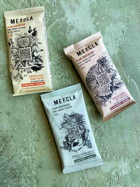 3 mezcla plant based protein bars in packaging