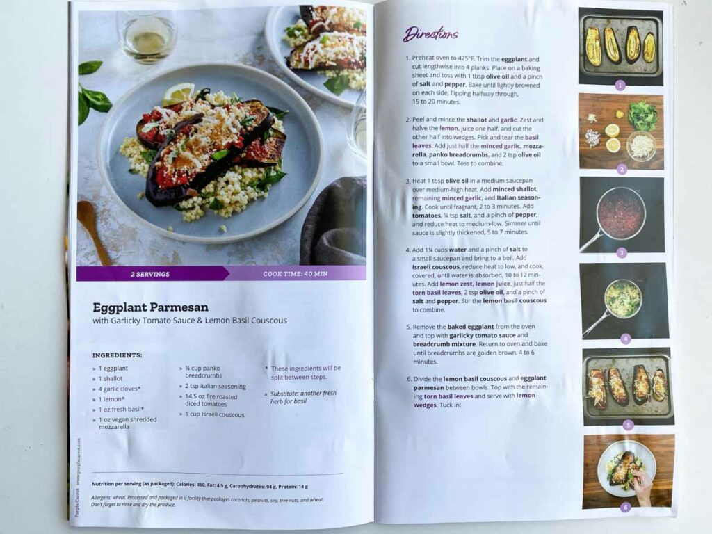 Recipe for Eggplant Parmesan from Purple Carrot meal kit delivery