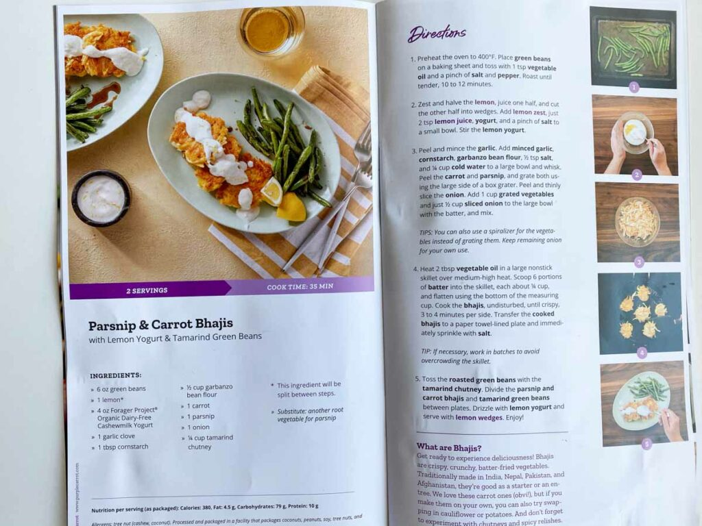 Recipe for Parsnip & Carrot Bhajis from Purple Carrot meal kit delivery