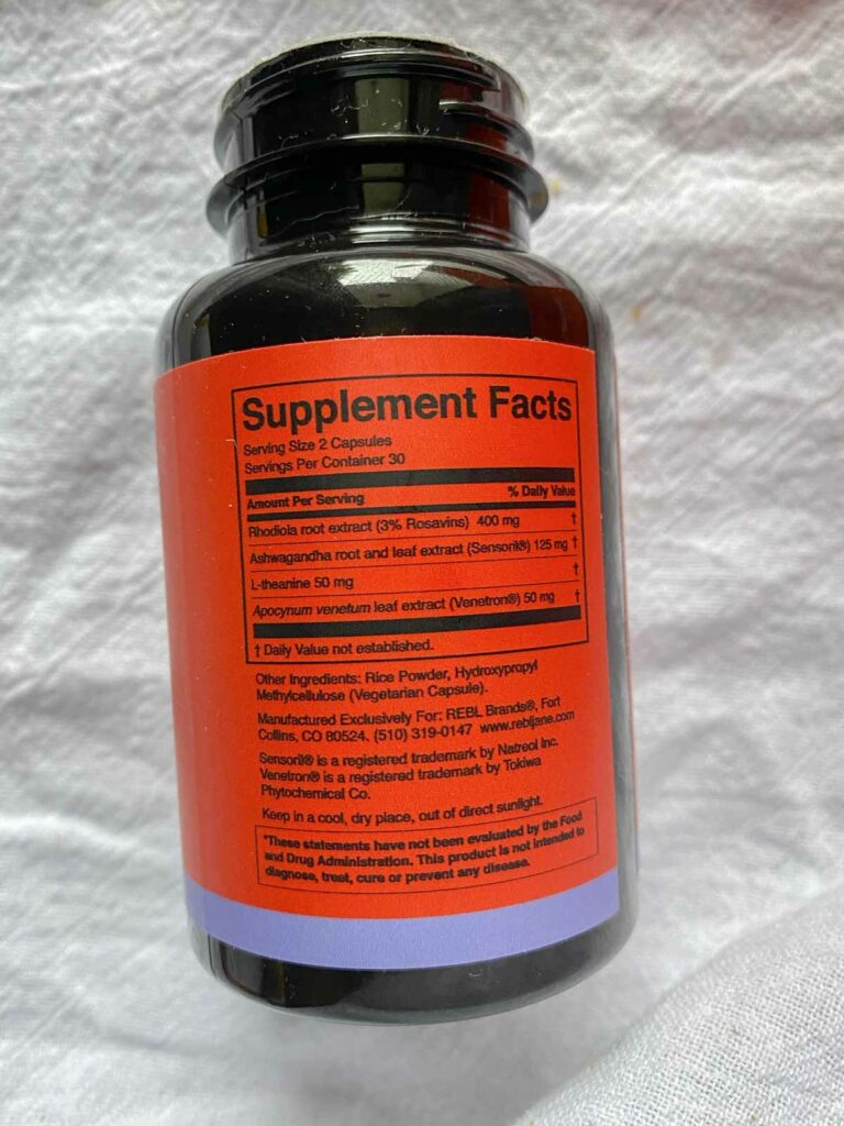 Rebl Jane Stress Fighter bottle supplement facts label