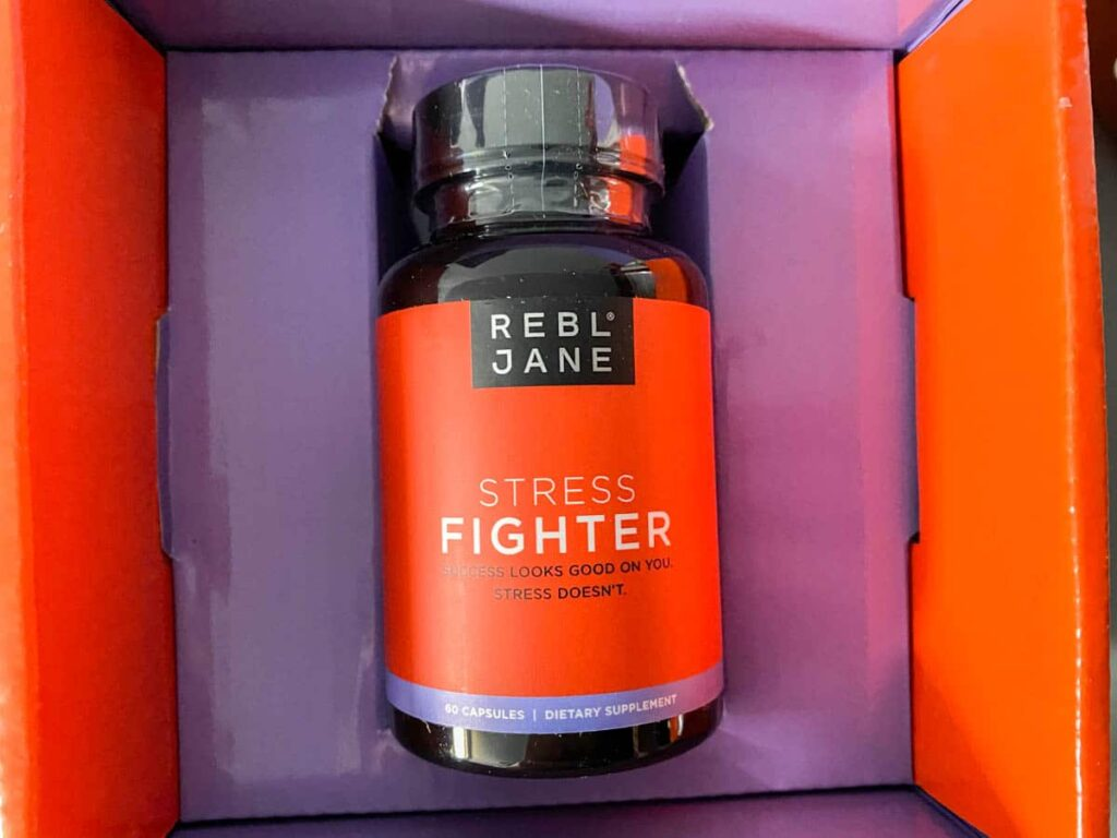 Rebl Jane Stress Fighter bottle in box front label