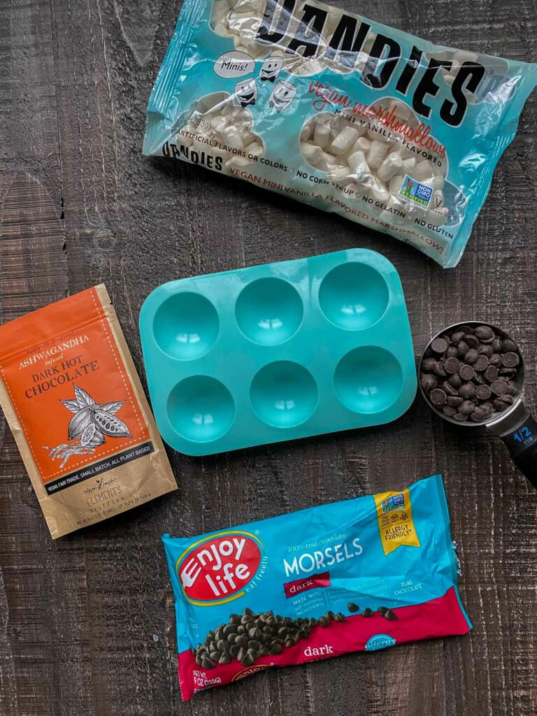 ingredients for dairy-free vegan hot chocolate bombs