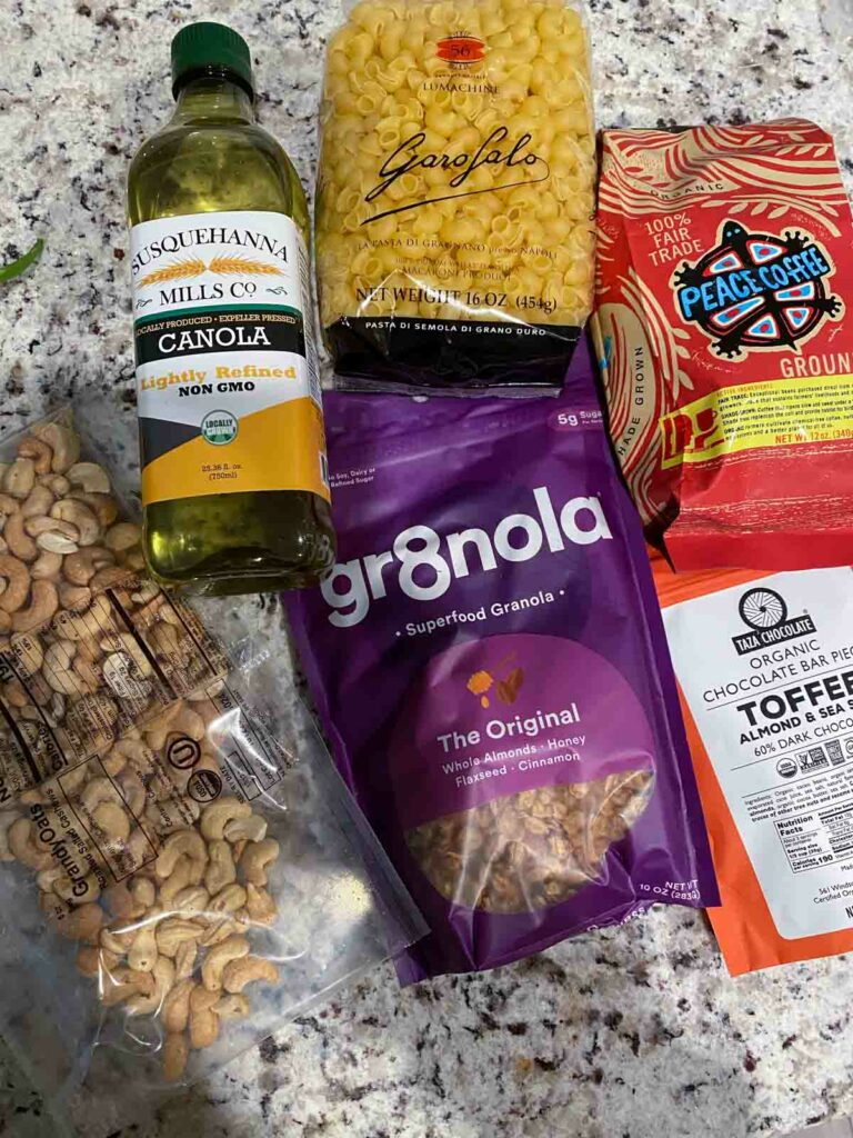 example of Misfits Marketplace pantry items order - canola oil, pasta, coffee, granola, toffee and cashew