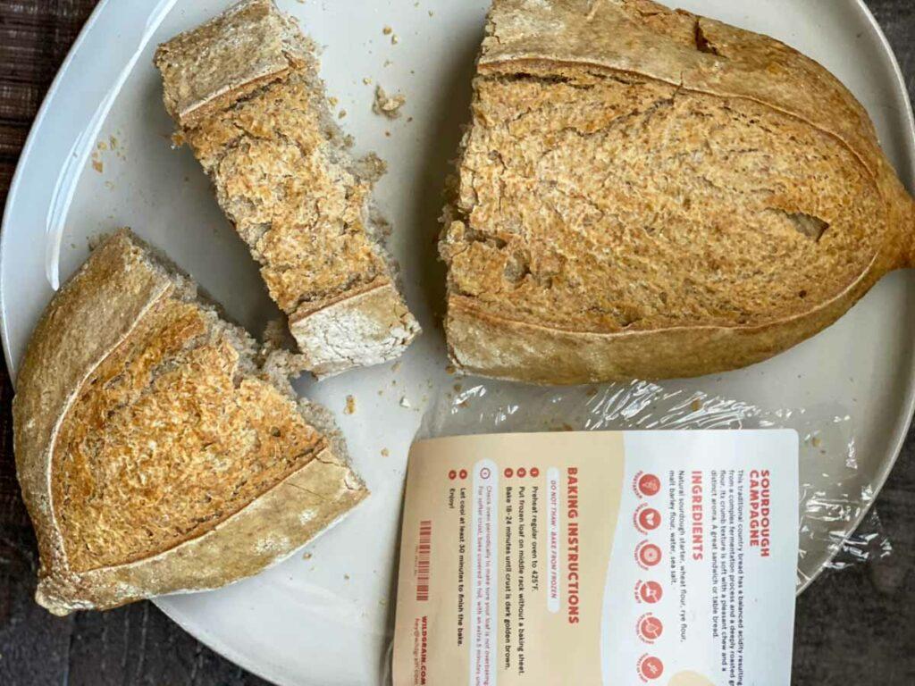 Wildgrain Sourdough Campagne sliced on plate