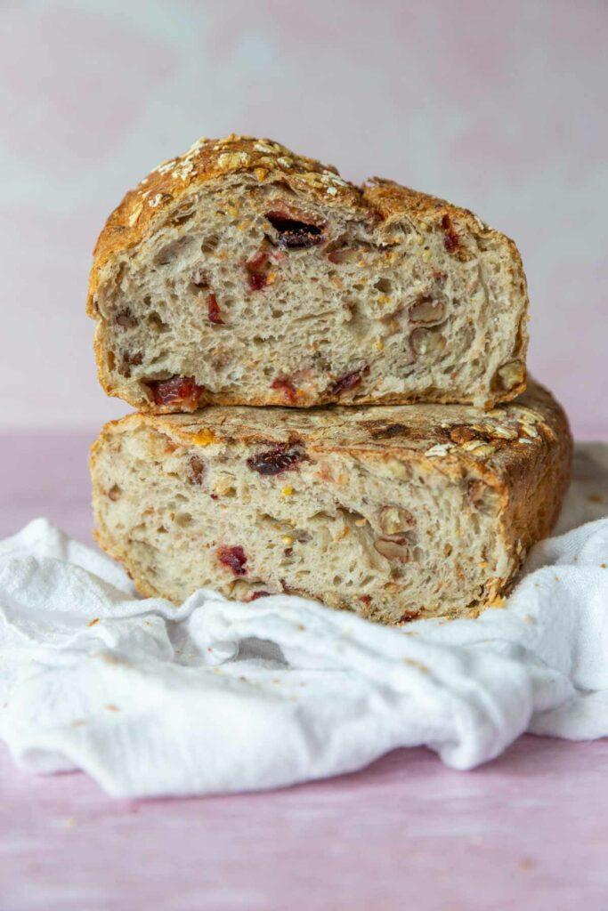inside of Wildgrain's slow-fermented cranberry pecan bread