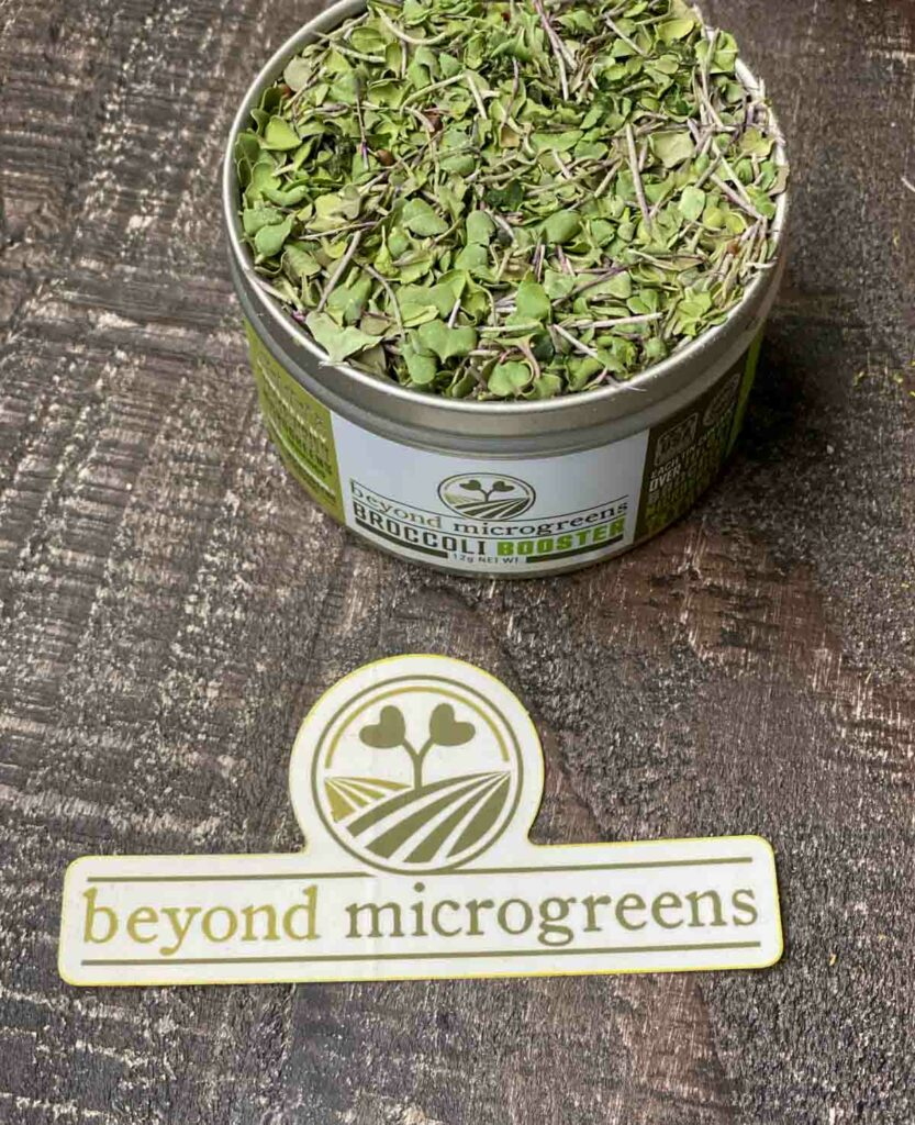 broccoli booster canister next to a beyond microgreens sticker