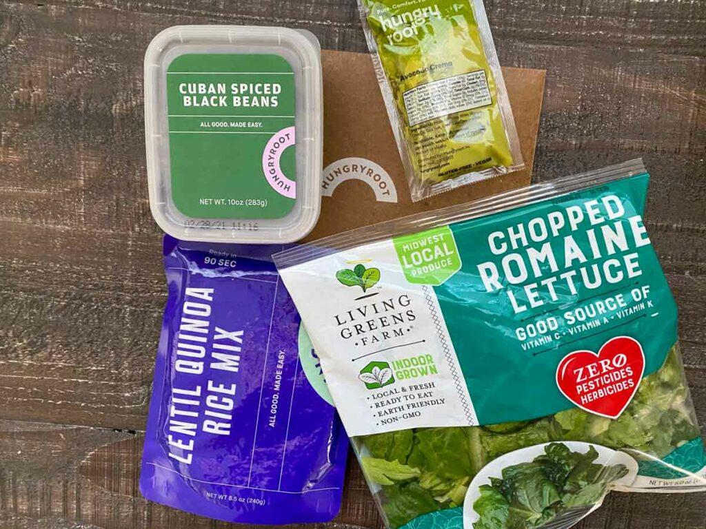 ingredients shot for lettuce black bean quinoa grain bowl