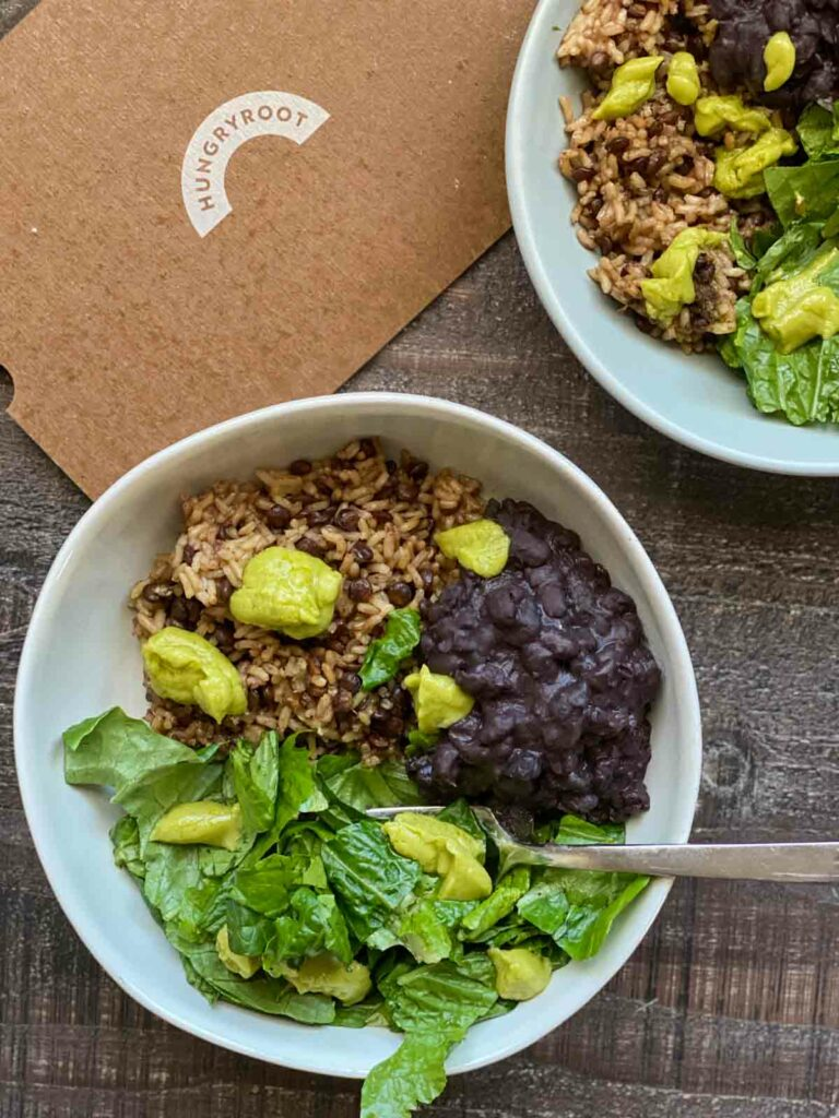 grain bowl with black beans, lettuce and quinoa blend with avocado cream from hungryroot