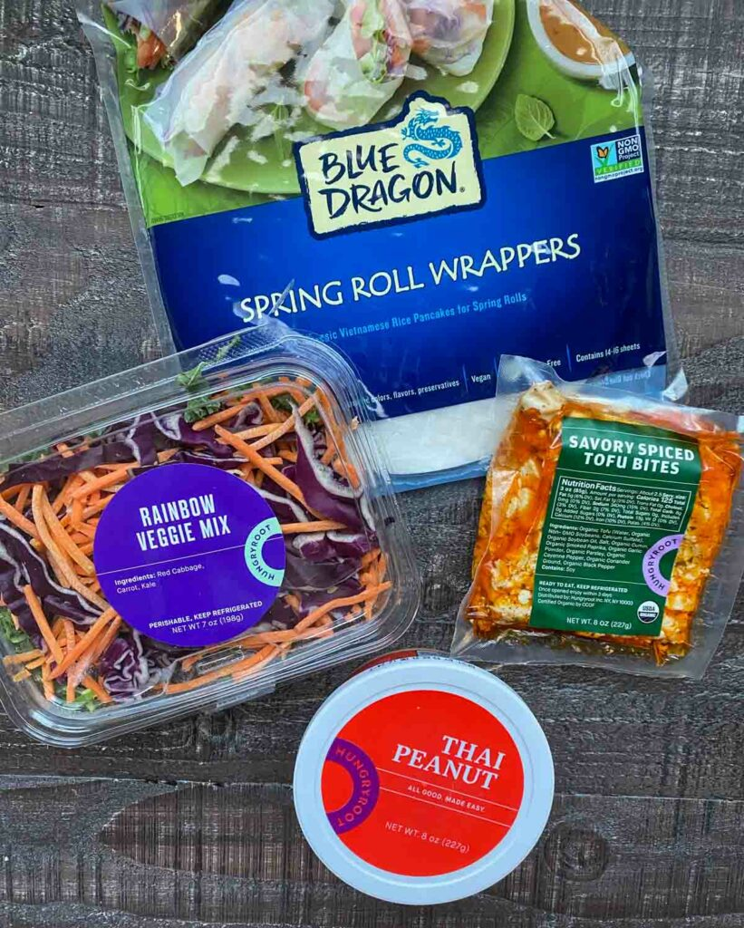 hungry root ingredients shot, spring roll wrappers, savory spiced tofu, rainbow veggie mix and thai peanut sauce
