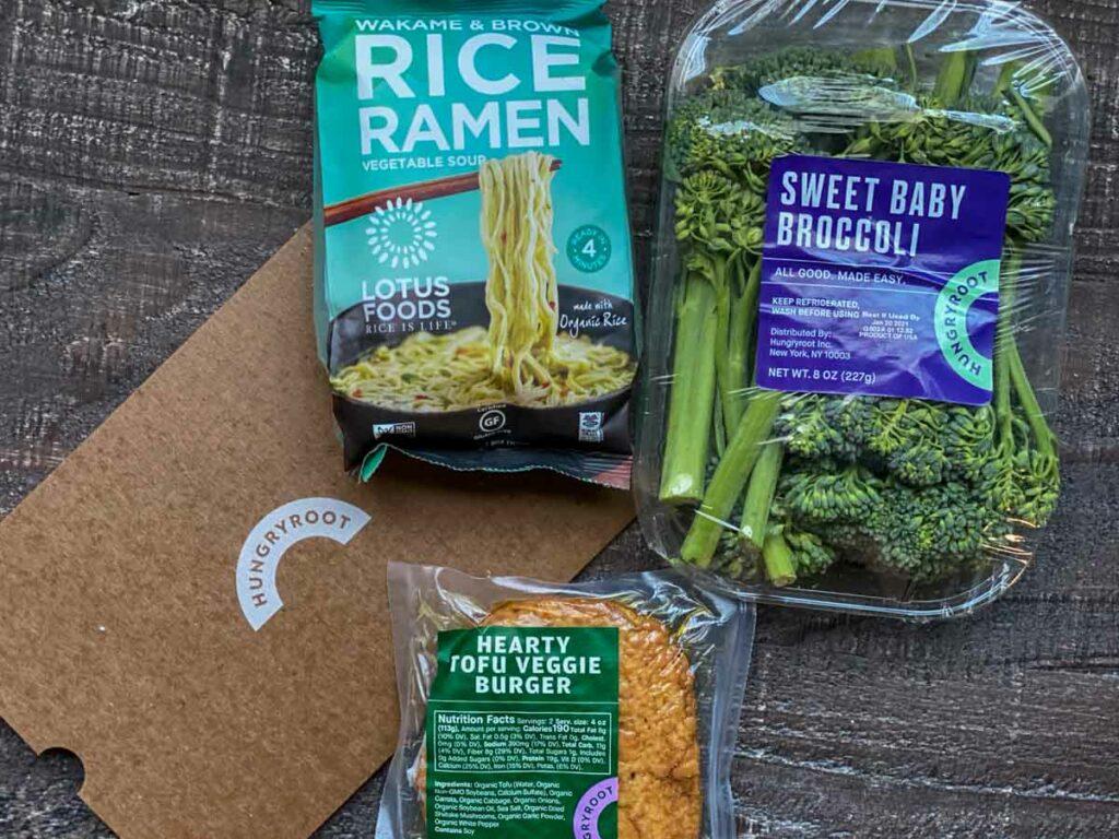 ingredients shot, sweet baby broccoli, rice ramen noodles and tofu veggie burger