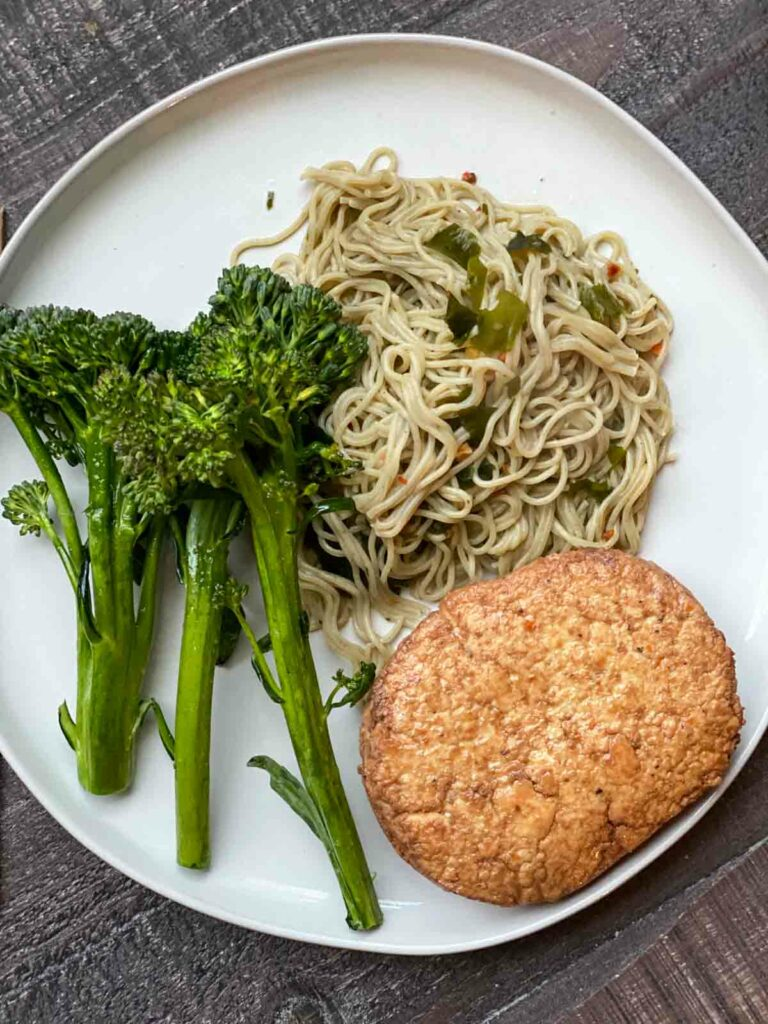 broccolini, veggie burger and rice ramen from hungryroot