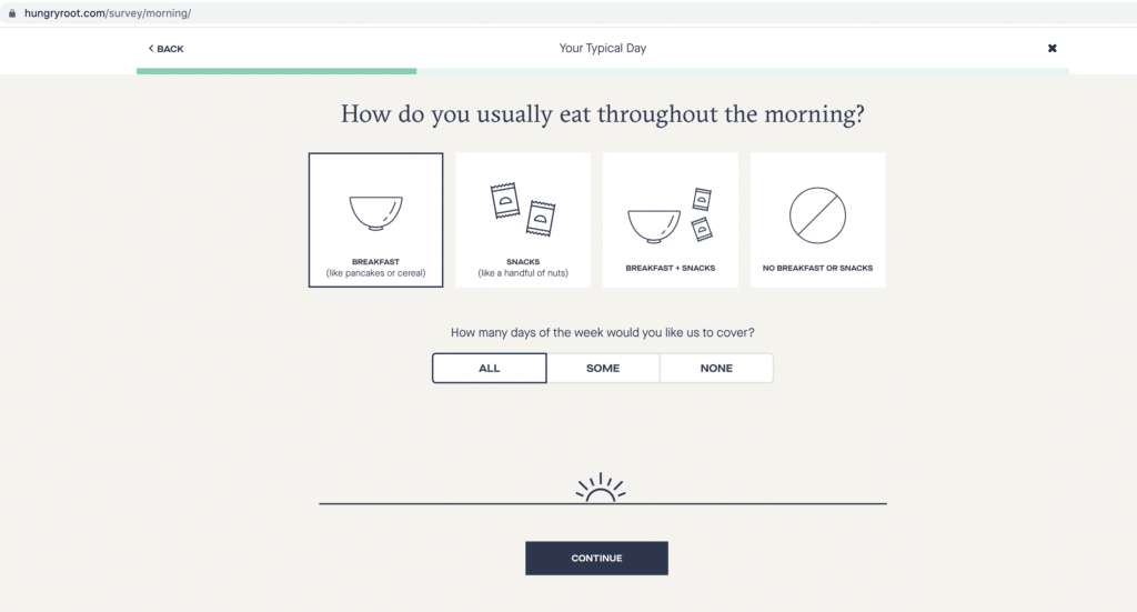 how do you usually eat throughout the morning? hungryroot quiz