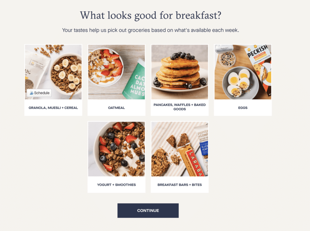 What looks good for breakfast? pancakes, eggs, snack bar, smoothie bowl, yogurt and berries