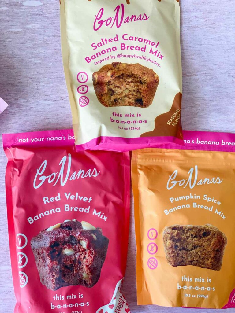 3 bags of GoNanas mix bags - red velvet, pumpkin spice and salted caramel banana bread