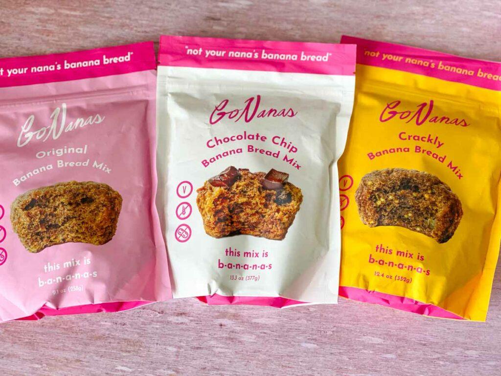 3 bags of GoNanas mix bags - original, chocolate chip and crackly banana bread