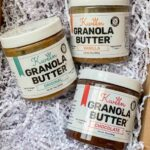 3 jars of granola butter in packaging - original, vanilla and chocolate flavor