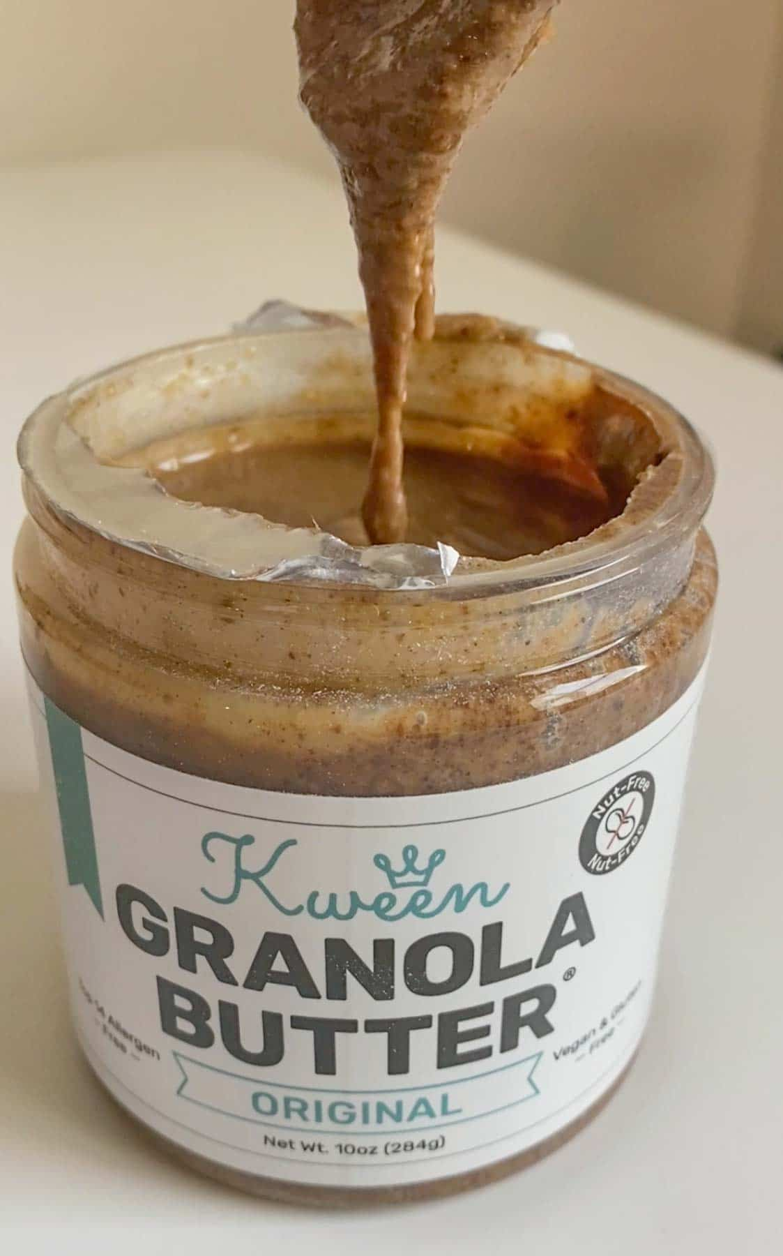 showing the texture of granola butter at room temperature