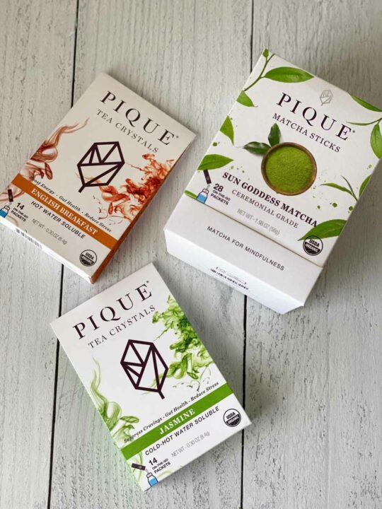 3 boxes of Pique tea - matcha, jasmine, english breakfast