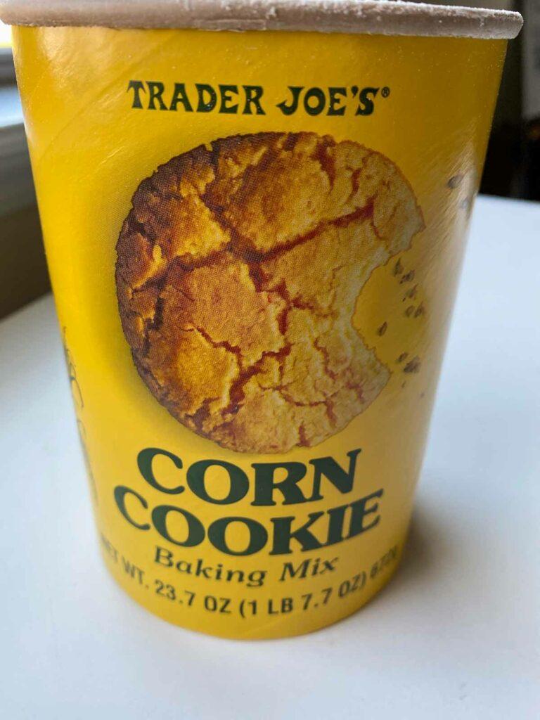 Trader Joe's corn cookie baking mix tub