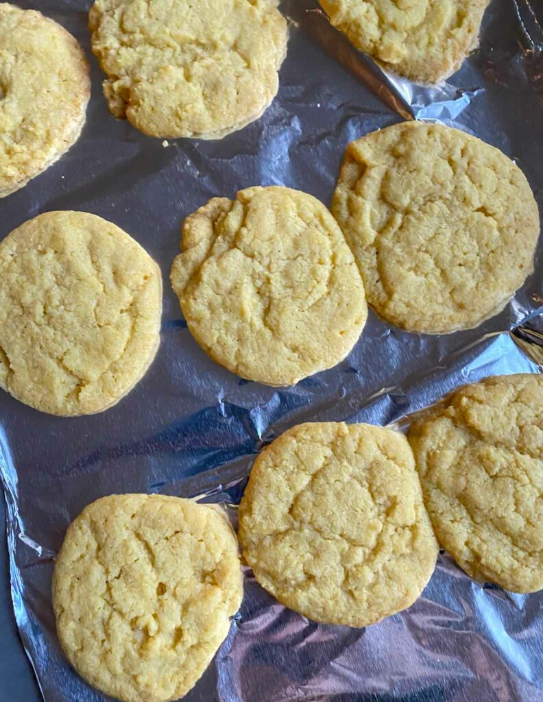 Trader Joe's corn cookies on baking sheet right out of the oven