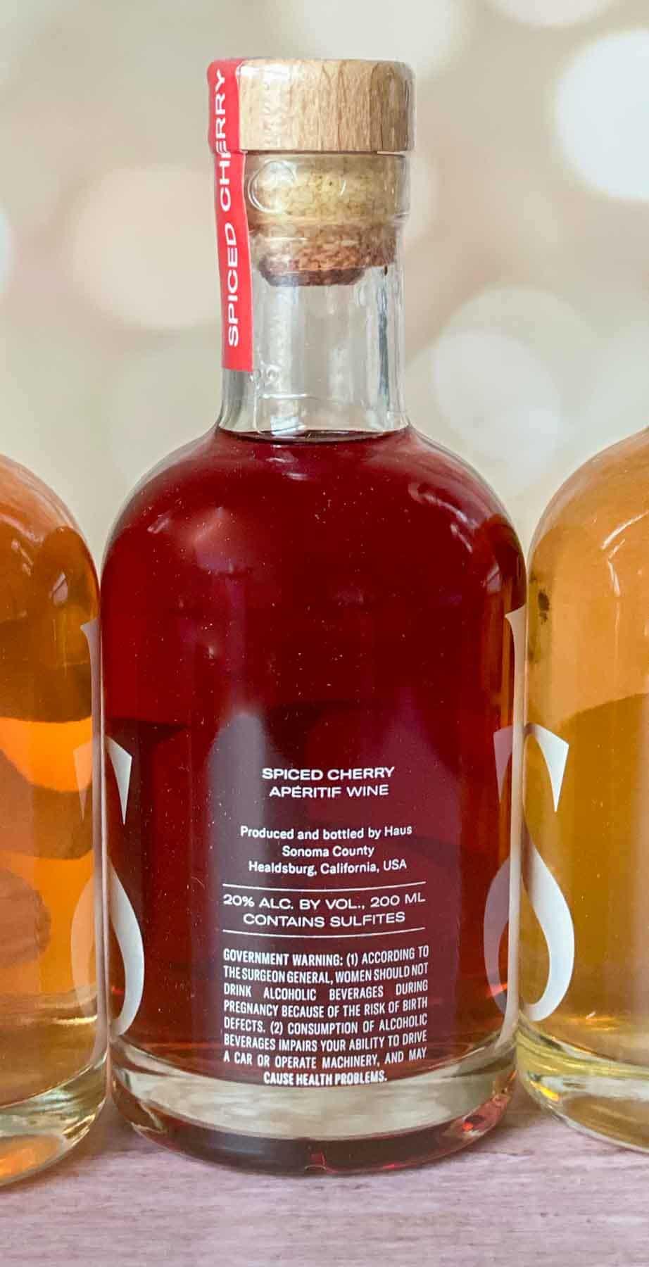 back of spiced cherry haus sampler bottle