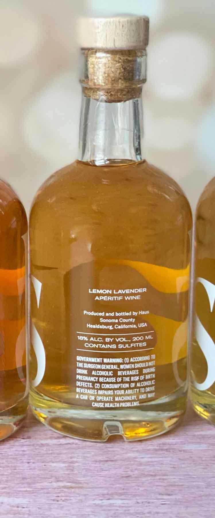 back of lemon lavender haus sampler bottle