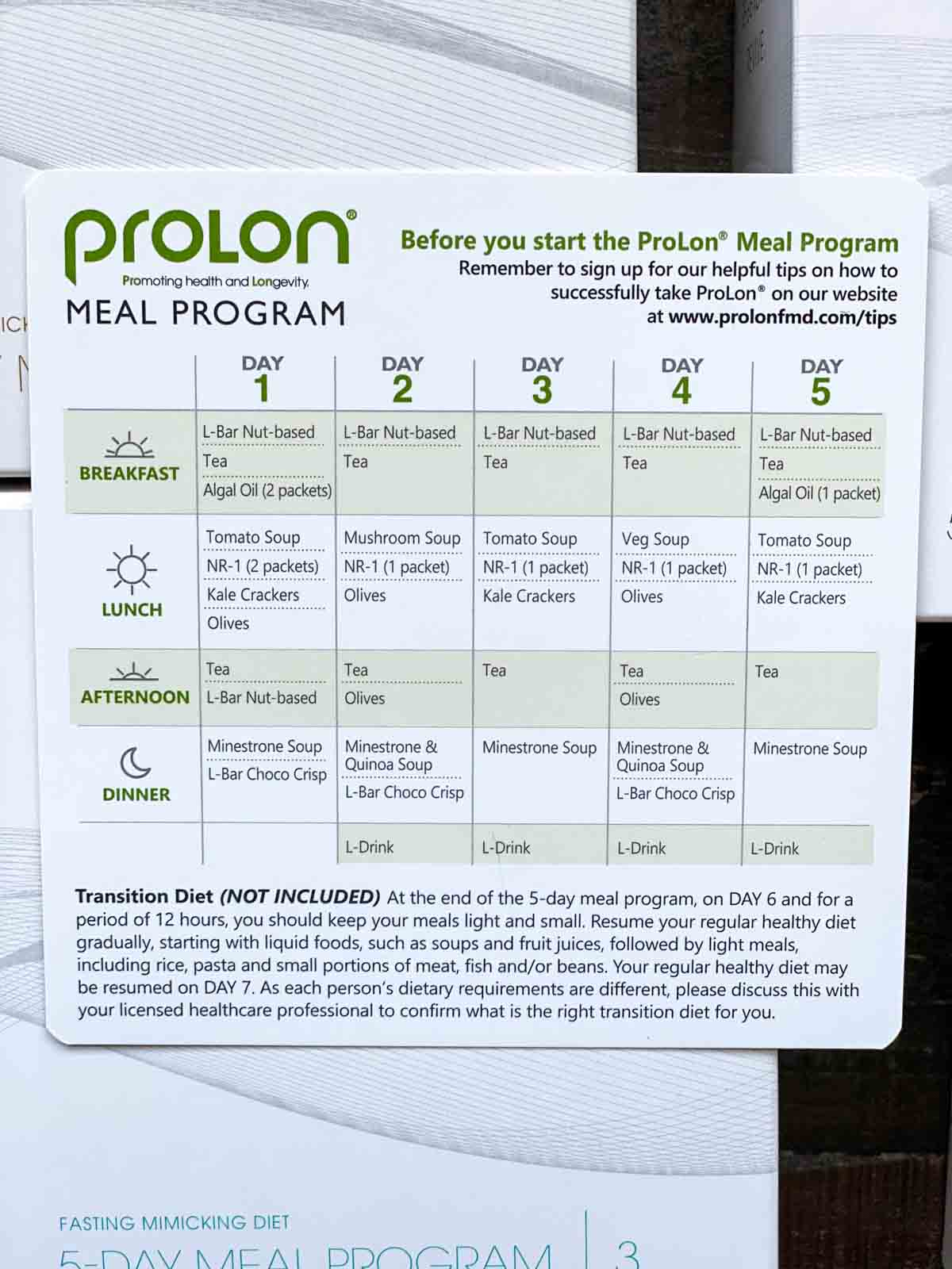 prolon 5 day eating schedule