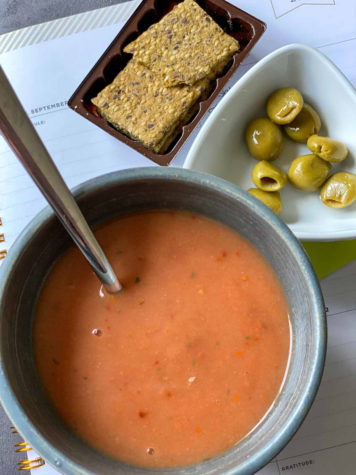 prepared tomato soup, kale crackers and green olives from day 1 of prolon