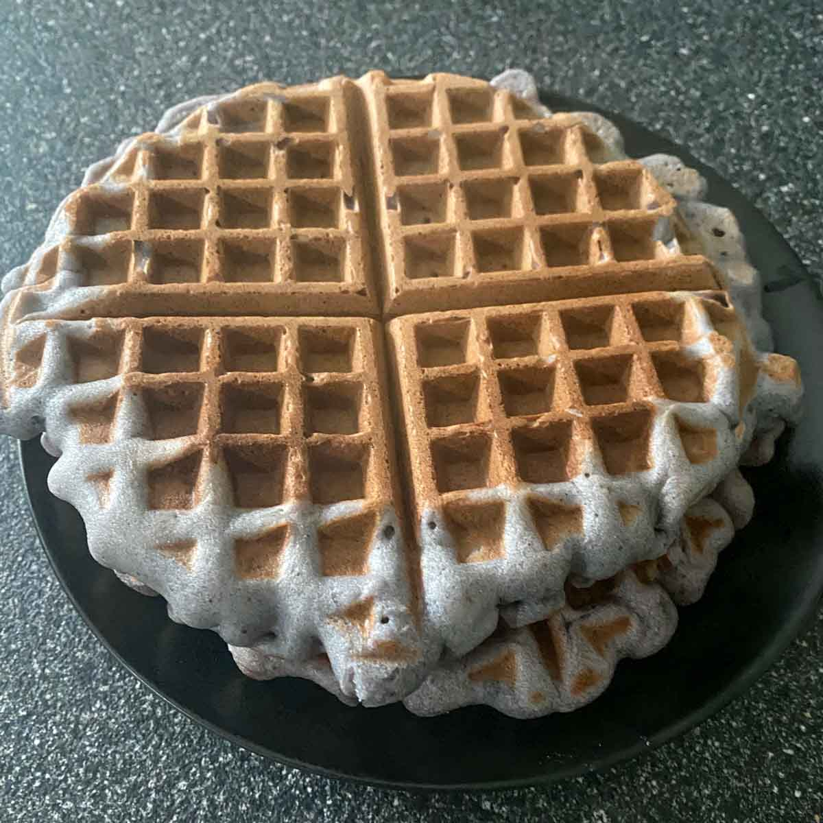 Ube Mochi mix from Trader Joe's made into waffles - 2 on plate
