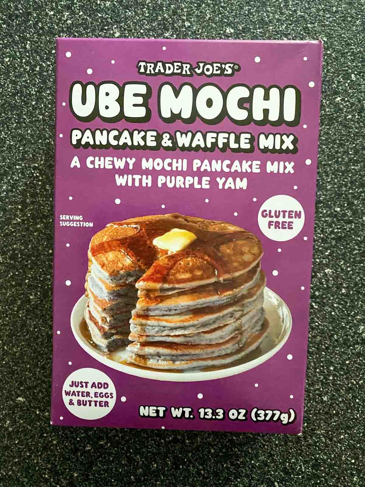 Ube Mochi pancake and waffle mix from Trader Joe's front of box
