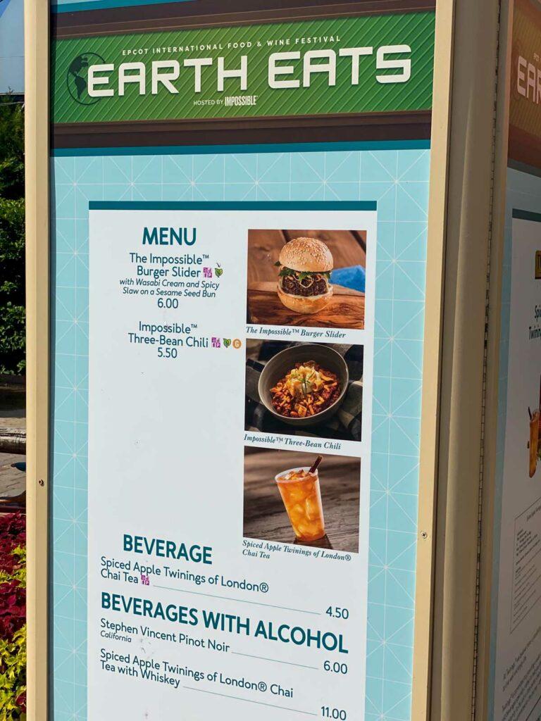 Disney's Epcot Earth Eats menu